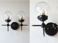 Wall Sconce Black and Gold Brass 2 Globe Modern