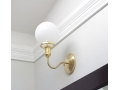 Gold Brass Wall Sconce White