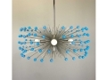 5-Bulb Nickel Turquoise Beaded Urchin Chandelier Lighting