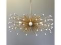 5-Bulb White Beaded Urchin Chandelier Lighting