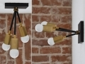 Matte Black and Gold Raw Brass Modern Sconce 3 Arm Bulb