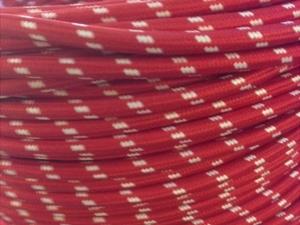 Beyaz Noktalı Kırmızı Kumaş Kablo