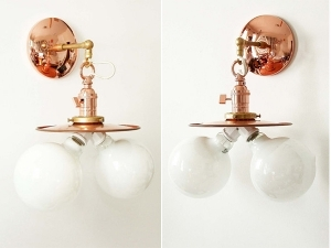 Copper Double Sconce Wall Lighting