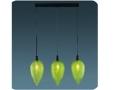 3lü Dekoratif Yeşil Cam Avize