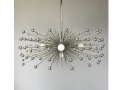5-Bulb Silver Beaded Urchin Chandelier Lighting
