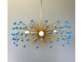 5-Bulb Brass Turquoise Beaded Urchin Chandelier Lighting