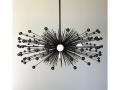 5-Bulb Black Beaded Urchin Chandelier Lighting