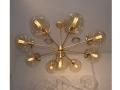 Sunburst 9-Bulb Brushed Brass Chandelier