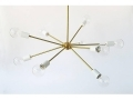 9 Socket Brass Sputnik With White Cups Pendant