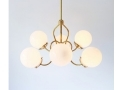 6 White Glass Globes on Fluted Pendant