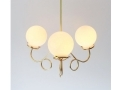 3 Fluted Arms With White Glass Globes Pendant